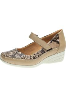Sapato Anabela Doctor Shoes 3144 Bege/Cobra