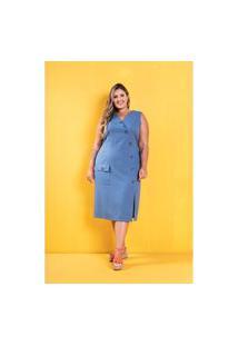 Roupas Plus Size Domenica Solazzo Vestidos Azul
