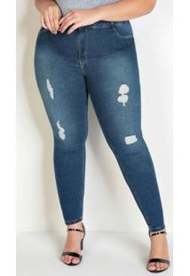 Calça Jeans Cigarrete Com Efeito Rasgado Sawary