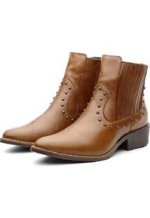 Bota Ankle Boot Couro Venetto Feminina Country Caramelo - Kanui