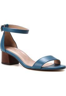 Sandália Couro Shoestock Básica Salto Bloco Baixo Feminina - Feminino-Azul Petróleo