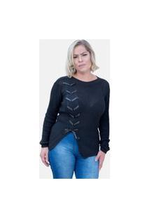 Blusa Tricot Com Laço De Fita