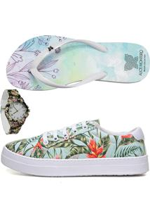 Kit Alice Monteiro Tenis Casual + Relogio + Chinelo - Verde Floral