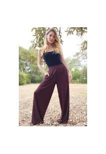Calça Pantalona Amazonia Vital Malha Com Bolso Amazonia Vital Marrom