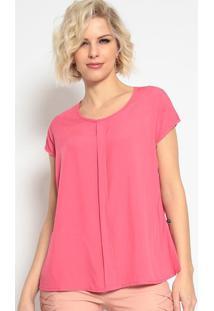 Blusa Lisa Com Prega - Rosa Escuro- Maclumaclu
