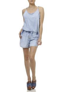 Macacão Lb Modas Jeans Jardineira - Feminino-Azul