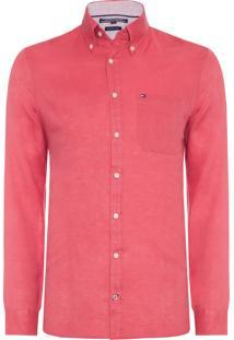 Camisa Masculina Solid Linen - Vermelho