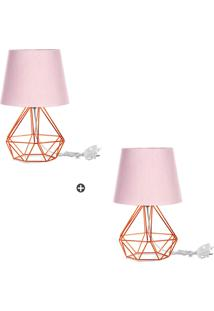 Kit 2 Abajur Diamante Dome Rosa Com Aramado Cobre - Rosa - Dafiti