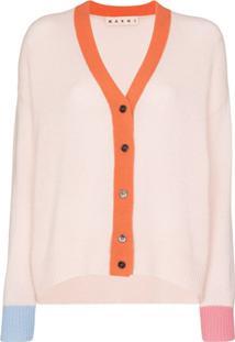 Marni Cardigan De Cashmere Com Decote Em V - Rosa