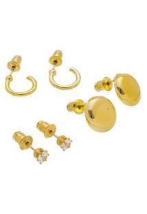 Kit Com 3 Brincos Dourados Pequenos