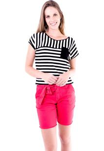 Blusa Gup'S Jeans Pocket Listrada Preta