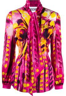 Moschino Blusa Com Estampa E Amarração Na Gola - Rosa