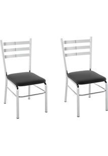 Kit 2 Cadeiras Pc09 Assento Nobuck Preto - Pozza