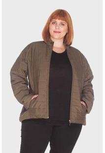 Jaqueta Listra Plus Size Mirasul Feminina - Feminino-Verde
