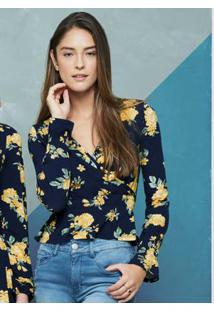 Blusa Azul Marinho Floral Transpassada