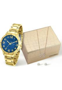 Kit Relógio Mondaine Feminino - 94872Lpmkde2K1 - Feminino-Dourado