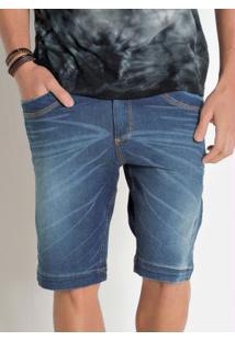 Bermuda Actual Jeans Com Efeito Puídos