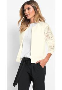Blazer Com Renda Off White