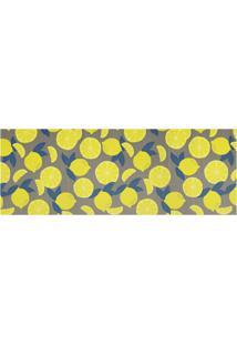 Tapete Para Cozinha Tropical Limões 43X130Cm Cinza