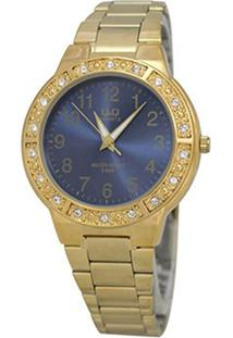 Relógio Analógico Q&Q Q901J005Y Feminino - Feminino-Dourado