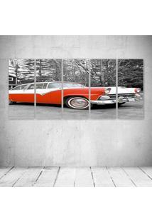 Quadro Decorativo - Red Car Vintage - Composto De 5 Quadros