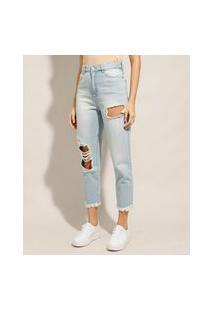Calça Mom Cropped Jeans Destroyed Cintura Super Alta Azul Claro