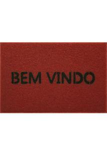 Capacho Em Pvc Vinil Bem Vindo 40X60Cm Vermelho