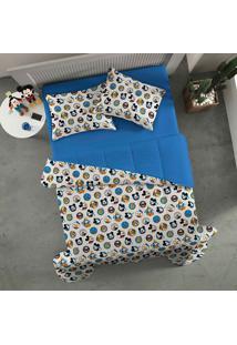 Edredom Casal Amigos Do Mickey - Portallar - Azul