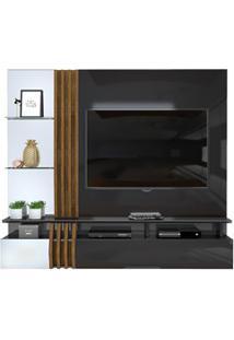 Painel Home Suspenso Para Tv Até 55 Pol. Com Espelho Loris Preto Gloss