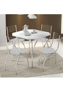 Mesa 1504 Branca Cromada Com 4 Cadeiras 146 Fantasia Branco Carraro