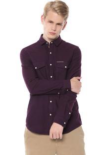 Camisa Calvin Klein Jeans Slim Fit Roxa