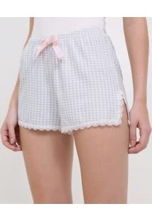 Short De Pijama Vichy Com Detalhes Em Renda