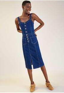 Vestido Jeans Jardineira Comfort Jeans