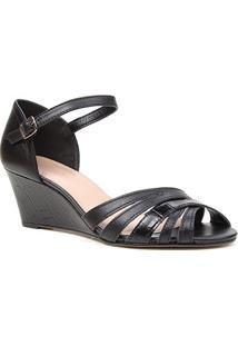 Sandália Anabela Couro Shoestock Tiras Cruzadas Feminina - Feminino-Preto