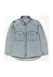 Camisa Jeans Marmorizada Com Mangas Bufantes Curve & Plus Size | Ashua Curve E Plus Size | Blue Jeans Medio | Gg