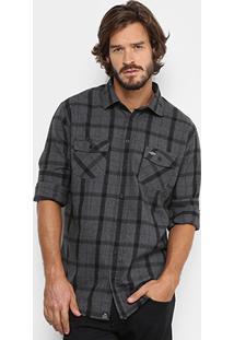 Camisa Triton Flanelada Xadrez Masculina - Masculino-Chumbo
