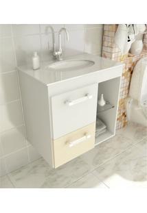 Gabinete Para Banheiro 60 Cm Com 2 Peças Linea 12 Branco E Carvalho-Prata Tomdo