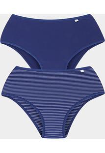 Kit Calcinha Delcotton Microfibra Cintura Alta 2 Peças - Feminino-Azul