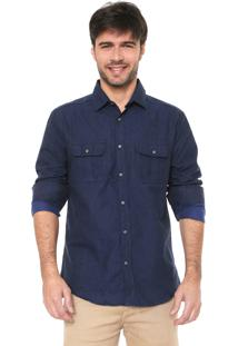 Camisa Malwee Slim Xadrez Azul-Marinho