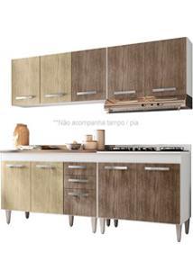 Cozinha Modulada 4 Módulos Composição 5 Branco/Carvalho/Castanho - Lum