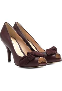 d855b40c94 ... Peep Toe Couro Shoestock Salto Fino Laço - Feminino-Vinho