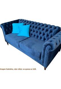Sofa Chesterfield Azul Pes Madeira Imbuia - 33000 - Sun House