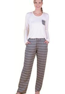 Pijama Monthal Branco Com Cinza