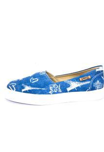 4cb890ef4e ... Tênis Slip On Quality Shoes Jeans Paris Feminino - Feminino-Azul