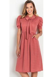 Vestido Evasê Poá Ferrugem Moda Evangélica