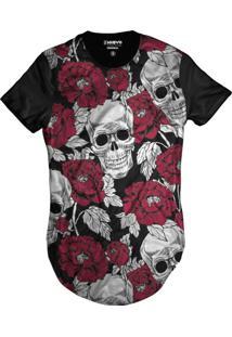 Camiseta Di Nuevo Swag Caveira Mexicana Florida Rosas Vermelhas Preta