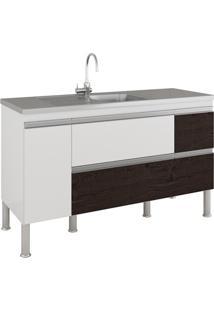 Gabinete Para Cozinha Prisma 86X144Cm Branco E Café