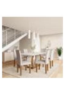 Conjunto De Mesa De Jantar Com 6 Cadeiras Estofadas Sienna I Veludo Off White E Creme