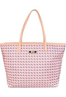 Bolsa Santa Lolla Shopper Nylon Cubos Feminina - Feminino-Rosa+Cinza