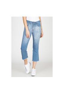 Calça Jeans Cropped Flare Bloom Bordado Pérola Delavê